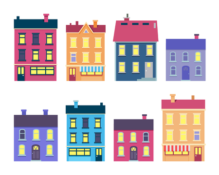 Collection of Colourful Xmas Buildings on White