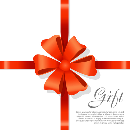 Gift Red Wide Ribbon. Bright Bow with Two Petals