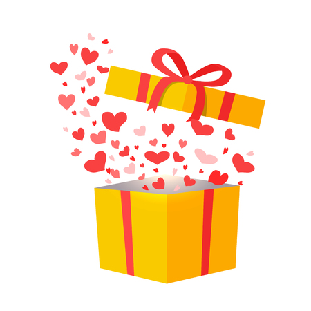 Outflying Hearts from Present on White Background Illustration