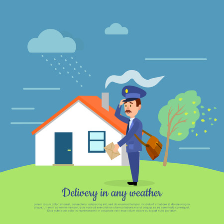 Delivery in any Weather. Postman Delivers Letters Illustration