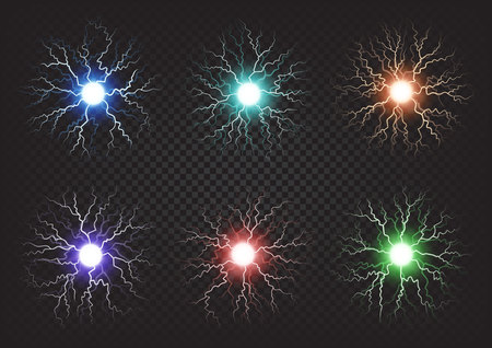 Fireballs Colourful Set on Transparent Background Illustration