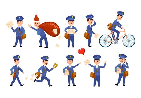 Personaggi postino con borse e set di biciclette.