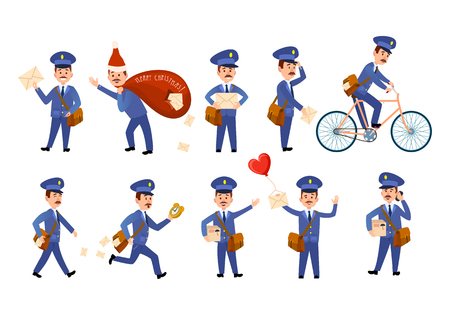 Postman Characters with Bags and on Bike Set.