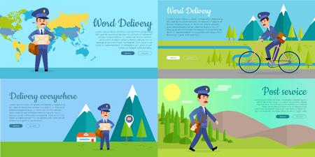 Post Service Vector Cartoon Web Banners Set