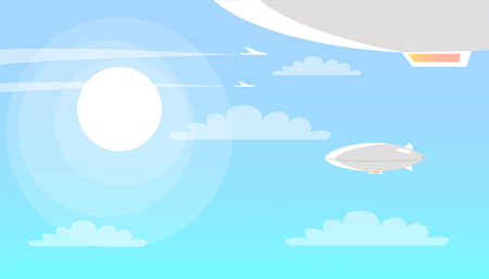 Airships Flying in Sky with Clouds and Shining Sun Stock Vector - 73762932