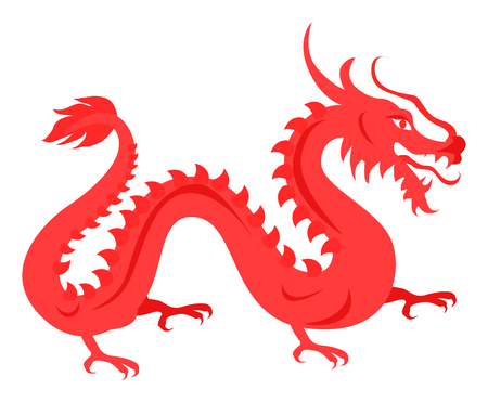 japanese ethnicity: Isolated Red Dragon on White. Chinese Symbol.