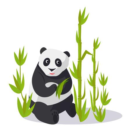 Panda Sitting between Bamboo Holds Green Leaves Illustration