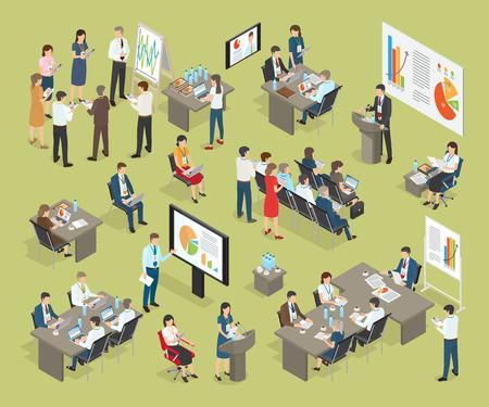 ビジネス コーチング オフィスのベクトル コレクション  イラスト・ベクター素材