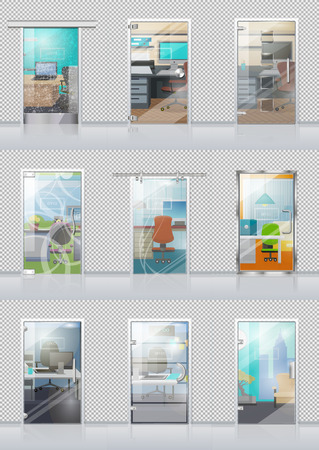 viewable: Transparent Door Set with View on Study Objects Illustration