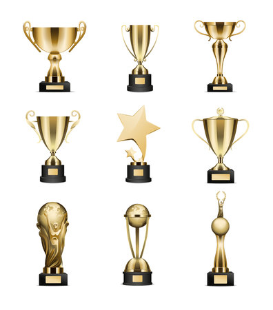 Golden Trophy Cups Collection Isolated on White