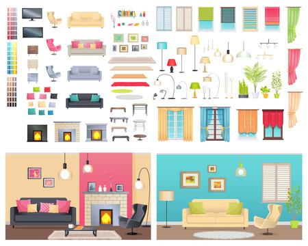 Intérieurs modernes de différents appartements confortables Banque d'images - 73763031
