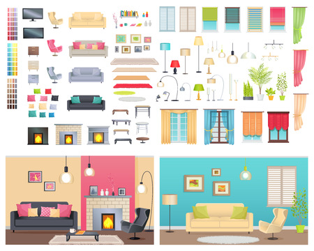 Modern Interiors of Different Comfortable Flats Ilustração