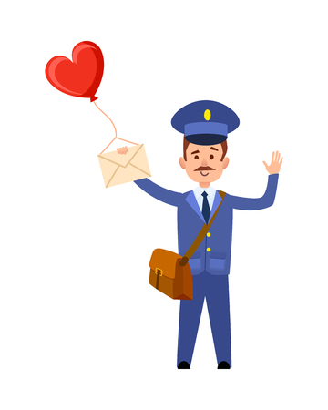 Valentine Post and Mailman with Heart Balloon