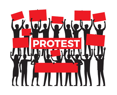 Protest by Group of Protester Silhouette on White Illustration