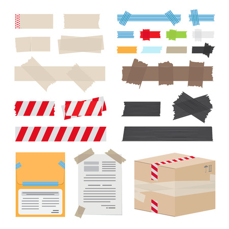 strapping: Set of Different Scotch Tape on White Background Illustration