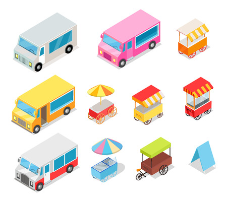 Minivan and Streetfood Stall Collection on White Illustration