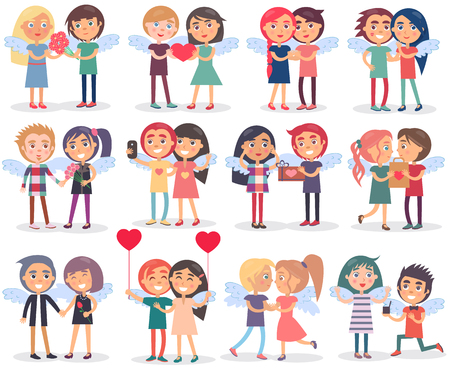 Couples on Valentine s Day on White Background