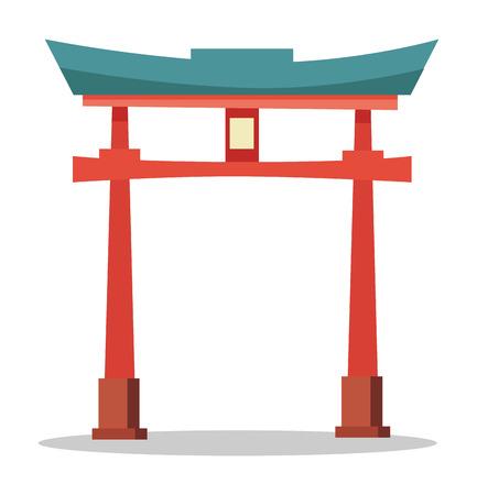 itsukushima: Japanese Red Gate. Traditional Oriental Landmark