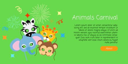 Kinderlijke dierenmaskers. Olifant, Zebra, Aap, Giraf.