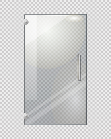 doorhandle: Transparent Door on Grey Checkered Background Illustration