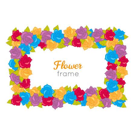 Rectangular Wreath of Different Blossoms. Vector Illustration
