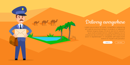 Delivery Everywhere Vector Web Banner with Postman Ilustração
