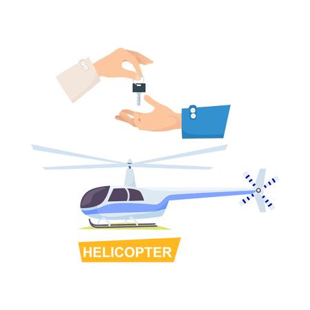 Clé de passe main. Processus d'achat d'hélicoptère Banque d'images - 73763022