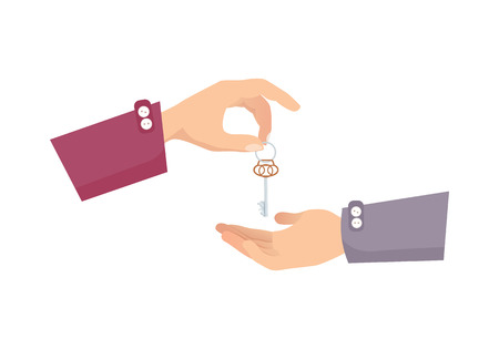 obtain: One Hand Giving Key to Another. Process of Buying