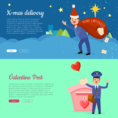Xmas Delivery and Valentine Post Banner with Postman Illustration