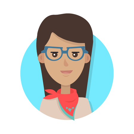 Woman Face Emotive Vector Icon in Flat Style Illustration