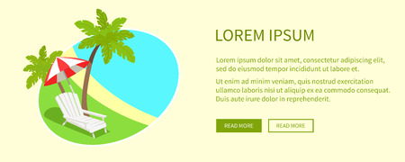 Tropical Island on Round Tag Isolated near Text