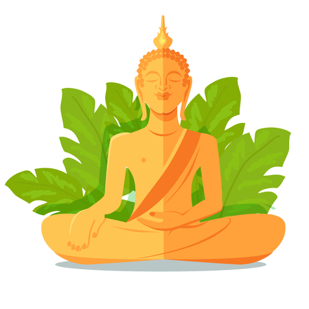 buddist: Buddha Golden Statue in front of Green Big Leaves Illustration