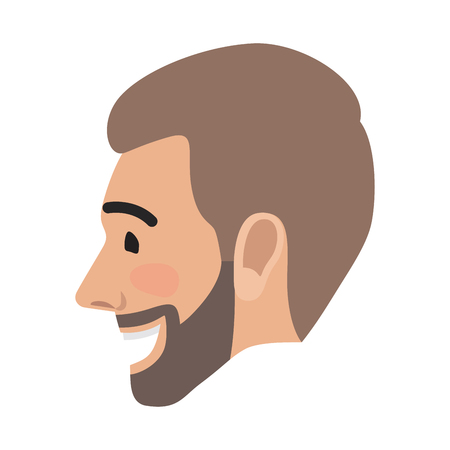 Emotion Avatar Man Happy Successful Face. Vector