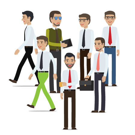 full length portrait: Businessmen Standing Full Length Portrait on White Illustration