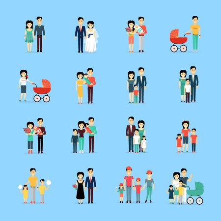 go out: Married Couple People Life Collection on Blue Illustration