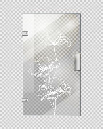 doorhandle: Glassy Entrance Door on Checkered Background.