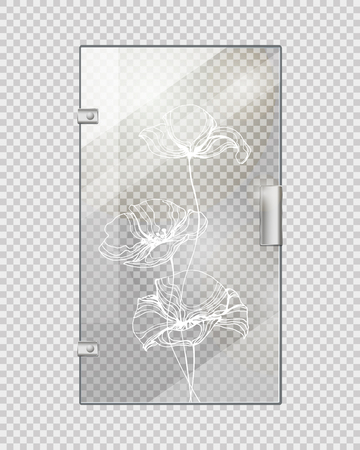 Glassy Entrance Door on Checkered Background.