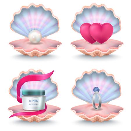 フェイス クリーム、ピンクの心、結婚指輪とシェル