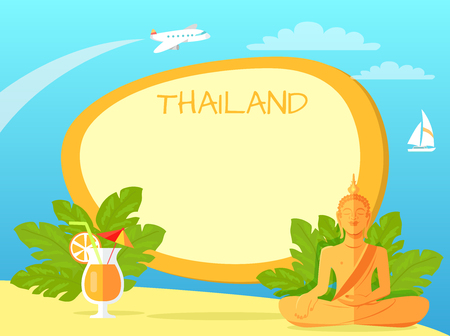 Thailand Isle with Buddha Statue and Cocktail Illustration