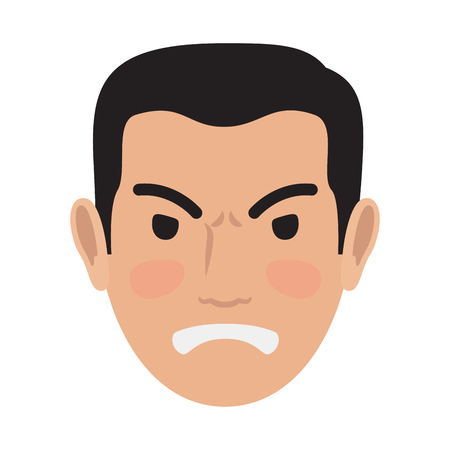 Angry Man Avatar User Pic Front Head View Vector Illustration