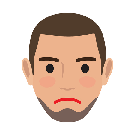 Indifferent Man Avatar User Pic. Vector Front View Illustration
