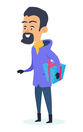 warm clothing: Isolated Smiling Man with Present Box on White Illustration