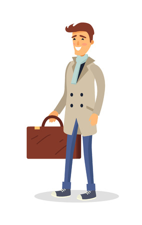 Man in Coat with Brown Suitcase Isolated on White Illustration
