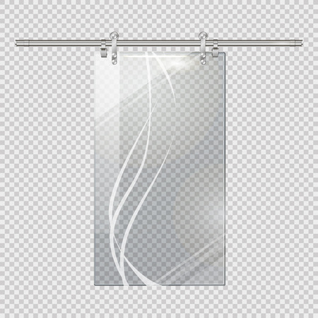 billowy: Moving Transparent Door on Checkered Background Illustration