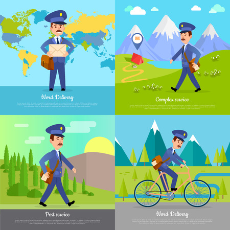 World Delivery Banner Postman. Mailman on Bicycle Illustration