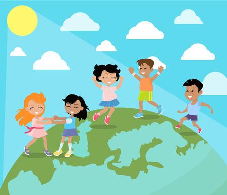 Happy Children Dancing on Planet Earth Flat Vector