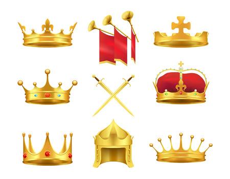 Golden Ancient Crowns and Swords Set on White Illustration