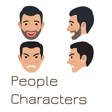 People Characters. Sad and Happy Man Avatar