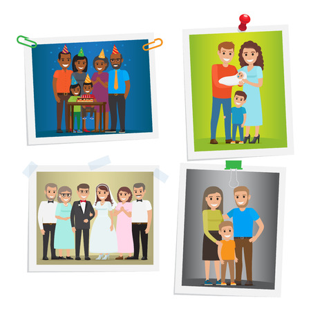 kindred: Family Special Day Photos Inoculated on White Illustration