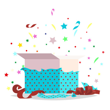 Open Blue Gift Box Illustration Holiday Collection